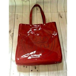 Tory Burch Large Red Patent Leather Tote Bag Logo